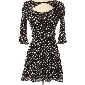 Cooperative 3/4 sleeve bird print keyhole dress